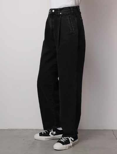 BLACK stone semi wide pants